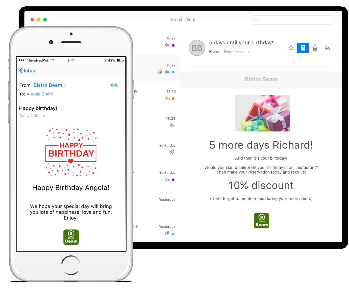 Geburtstagsgrube verschicken per mail